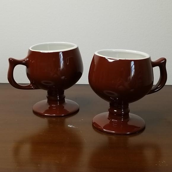 Hall Pottery Vintage Pedestal Coffee Mugs 2